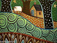 Prairie 24x18 Canvas Painting Folk Art Dog Birds Girl Sheep Trees Original Karla | eBay