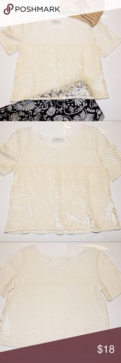 """Sheer Velvet Lace Crop Top Abercrombie & Fitch top with very pretty raised velvet on the front. Sheer all over. 18.5"""" length. Contrast with a fuzzy wine color cardigan and suede leggings! Sorry 🚫trades! Bundle deal: 15% off 2 or more items 😎🛍👏🏼 Abercrombie & Fitch Tops Crop Tops"""