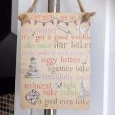 SHABBY COUNTRY CHIC MINI METAL CAKE BAKING SIGN - Star Baker, Bake, Show Stopper