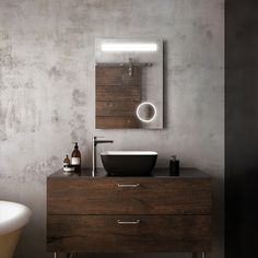 We love minimalism. You don't have to create rooms infinitely complexe to showcase your products. For this Kalia digital rendering, we focussed everything on the gorgeous self-lighting mirror. Simplicity, combined with and aboundance of noble materials as wood and concrete makes a digital artwork truely beautiful. 3d Studio, 3d Design, Double Vanity, Minimalism, Concrete, Bathrooms, Mirror, Lighting, Digital