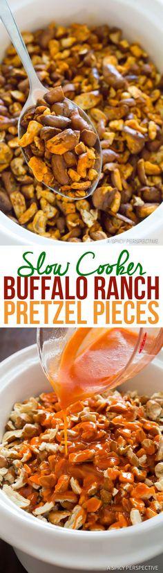 4-Ingredient Slow Cooker Buffalo Ranch Pretzel Pieces (+Oven Instructions) | http://ASpicyPerspective.com