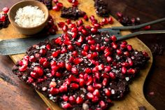 Recipe: Dark chocolate and pomegranate bark. Photo: Andrew Scrivani for The New York Times