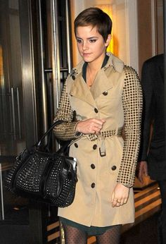 Emma Watson steps out in studded-sleeve Burberry trenchcoat