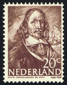 Stamp: Witte Corneliszoon de With (1599-1658) vice-admiral (Netherlands) (Heroes at sea) Mi:NL 417,Sn:NL 257,Yt:NL 407,NVP:NL 417
