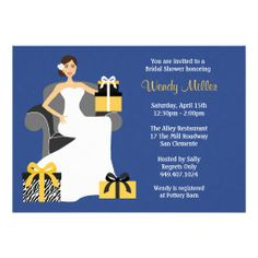 Brides michaels invitations wedding invitations beautiful bride navy and yellow bridal shower invitation filmwisefo