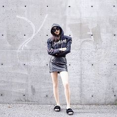 Get this look: http://lb.nu/look/8461745  More looks by Shelly  LIU: http://lb.nu/shell1107  Items in this look:  Vetements Hoodie, Puma Slippers   #casual #chic #street #fashion #hm #hmootd #streetstyle #denim #stylish
