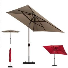 Rectangular Patio Umbrella With Solar Lights Entrancing Patio Umbrella With Solar Led Lights  Patio Decor  Pinterest Inspiration Design