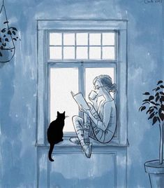 58 ideas for cats art illustration reading Art And Illustration, Reading Art, Girl Reading, Reading Time, Reading Books, Inspiration Art, Cat Drawing, Drawing Rain, I Love Books