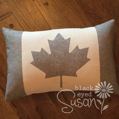 "Gray Canadian Flag Pillow Cover of Natural 100% Cotton Canvas or Burlap | 12 x18"" or 16""x23"" w/ Hand Painted Button Closure (or any color)"