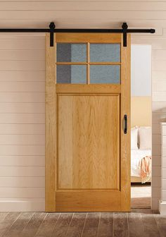 Modern Farmhouse bathroom decor complemented with a Masonite wooden barn door Wooden Barn Doors, Internal Wooden Doors, Oak Doors, Entrance Doors, Panel Doors, Garage Doors, Masonite Interior Doors, Interior Barn Doors, Exterior Doors