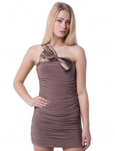 Womens Fashion One Shoulder Brown Bodycon   Wholesale Price:  Now: £4.05 tax excl. Was: £5.79 tax excl.  #fashionwholesaler  #londonfashion #brown #sale #dress #enjoythesale