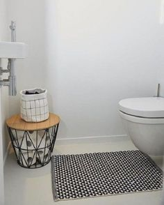 Fabric baskets + bath mat