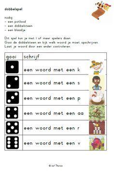 Met dank aan jufthirza.nl  (terugkerende) tip: koop 10-zijdige dobbelstenen (€1 p.st.), daarmee kan je het spel enorm uitbreiden: welke letter, lengte vh woord etc. MB BB