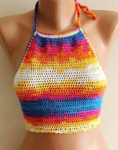 Crochet el alto cuello parte superior azul naranja por CarnavalShop