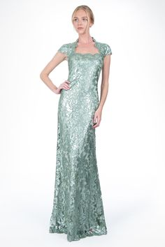 We adore the pastel green hue of our Paillette Embroidered Lace Queen Anne Cap Sleeve Gown in Celadon | Tadashi Shoji
