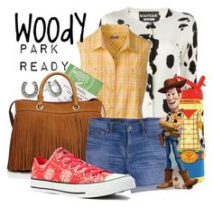 """""""Woody: Park Ready"""" by laniocracy on Polyvore featuring Boutique Moschino, Disney, Milly, J.Crew, Converse, Betsey Johnson and disneyland"""
