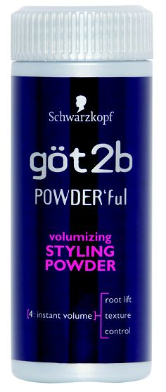 got2be Powder'ful volumizing powder. Put about a dime sized amount in the palm of my hand, rub my hands together, rub my hands through my hair. Poof.
