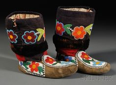 Cree Floral Beaded Moccasins n. Native American Moccasins, Native American Clothing, Native American Regalia, Native American Women, Native American Beadwork, Beaded Moccasins, Fashionable Snow Boots, Native Beadwork, Native Art