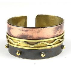 Trifecta Brass and Copper Cuff - Brass Images (C)