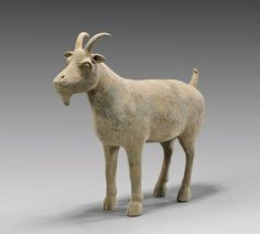 of a large well-potted goat with horns and an upturned tail, standing on all fours; L: 15 with Oxford TL Report Pottery Animals, Ceramic Animals, Animal Sculptures, Sculpture Art, Ceramic Sculptures, Glass Ceramic, Ceramic Clay, Sheep Art, Hand Built Pottery