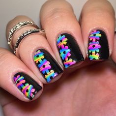 Neon on Black Nails