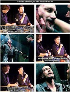 Jensen talking about how he was out-acted by the actor playing Alistair.