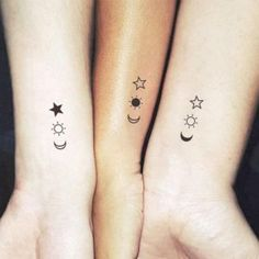 Matching Crescent Sun-And-Star-Temporary Tattoo (Set of tattoos Matc. - Matching Crescent Sun-And-Star-Temporary Tattoo (Set of tattoos Matching the crescent, - Wrist Tattoos Girls, Sibling Tattoos, Girl Finger Tattoos, 16 Tattoo, Tattoo Set, 3 Stars Tattoo, Tattoo Fonts, Moon Sun Star Tattoo, Poke Tattoo