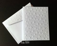 Stars Embossed Cards - Set of 4 white A2 Stars embossed card or Choose Your Colors -EC057 by StudioIdea on Etsy