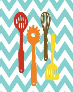 Kitchen Artwork Print Set Kitchen Tools Set of 3 by TexturedINK, $36.00