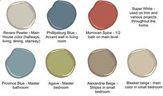 DelightCreativeHome: Friday Review Day! Our Paint Colors via Benjamin Moore - revere pewter, morroccan spice, agave