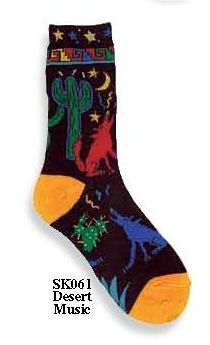 Colorful Coyotes howl at the moon with cactus in the background of this wild west sock. Southwest design available in Child and Adult Sizes.