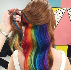 What is exactly the peekaboo hair color? Today, Beequeenhair will show you what it is and most incredible peekaboo hair colors to you. Peekaboo Hair Colors, Peekaboo Highlights, Rainbow Hair Highlights, Purple Highlights, Hidden Hair Color, Cool Hair Color, Hidden Rainbow Hair, Hair Color 2018, New Hair Trends