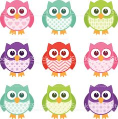 Cute little patterned owls with modern patterns on their bellies. Motif Simple, Simple Cartoon, Baby Cartoon, Baby Owls, Cute Pink, Easy Drawings, Animal Drawings, Illustration, Clip Art