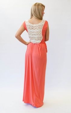 coral maxi with crochet back and tie waist. Want!