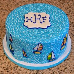 Lilly Pulitzer Sailboat Birthday Cake Sugarland Raleigh Chapel Hill