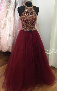 Gorgeous Beaded Burgundy Prom Dress, Tulle Halter Pageant