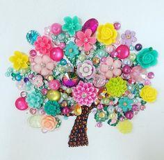 Button art blossom tree