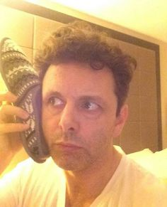 Michael Sheen and his slipper phone lol Michael Sheen, Actors Funny, Prodigal Son, British Actors, David Tennant, Husband, Selfie, Pure Products, Fluffy Biscuits