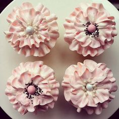 Pretty Pale Pink Ruffled Cupcakes