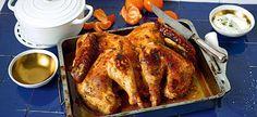 Dinde rôtie en crapaudine, marinée au chutney de mangue et jus de clémentines Naan, Tandoori Chicken, Turkey, Ethnic Recipes, Food, Juice, Roasted Turkey, Recipe, Oven