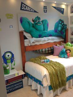 Monsters inc. monsters university bedroom so cute Monsters Inc Room, Monster Bedroom, Monster Nursery, Kids Bedroom, Bedroom Decor, Bedroom Ideas, Nursery Ideas, Nursery Decor, Wall Decor