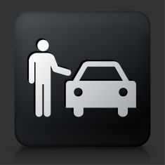 Black Square Button with Person and Car vector art illustration