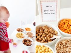 Make your own Snack Mix bar. Would be good for a toddler birthday or other party Birthday Party Snacks, First Birthday Parties, Birthday Celebration, 2nd Birthday, Birthday Ideas, Princess Birthday, Baby Party, Toddler Snacks, Kid Snacks