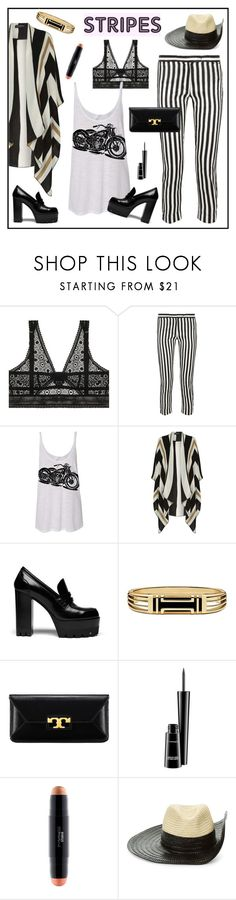 """""""#stripedpants"""" by hellodollface ❤ liked on Polyvore featuring ELSE, Ann Demeulemeester, Dorothy Perkins, Mulberry, Tory Burch, MAC Cosmetics, Sonia Rykiel and stripedpants"""