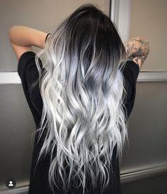 Hair Dye Colors, Ombre Hair Color, Cool Hair Color, Silver Ombre Hair, Hair Color Ideas, Black To Grey Ombre Hair, Black And Silver Hair, Ombre Bob, Long Silver Hair