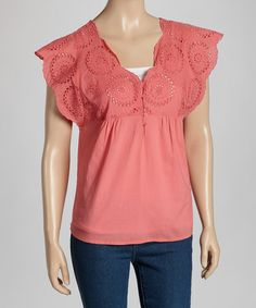 Take a look at this Blue Eyelet Top by SoHo Chick on #zulily today!