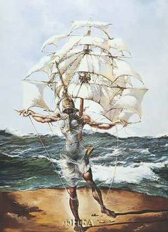 Dali's painting of Gala as a ship