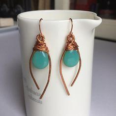 Copper Earrings Wire wrapped earrings Summer Earrings Wire Wrapped Earrings, Copper Earrings, Copper Jewelry, Copper Wire, Wire Jewelry, Pendant Jewelry, Jewelry Crafts, Jewelry Art, Handmade Jewelry