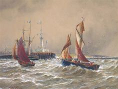 Thomas Bush Hardy Shipping off a harbour Dimensions: X 23 in X cm) Medium: watercolour Creation Date: Signed Royal Society, His Travel, Continents, Watercolour, Art Gallery, Ship, Medium, Artist, Artwork