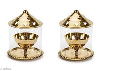 Festive Diyas & Candles Traditional Brass and Glass Diya (Pack Of 2) Material: Brass & Glass Size: 4.8 in Description: It Has 2 Pieces Of Diya Country of Origin: India Sizes Available: Free Size   Catalog Rating: ★4.1 (12205)  Catalog Name: Traditional Brass and Glass Diyas Vol 1 CatalogID_153470 C128-SC1604 Code: 373-1219312-378